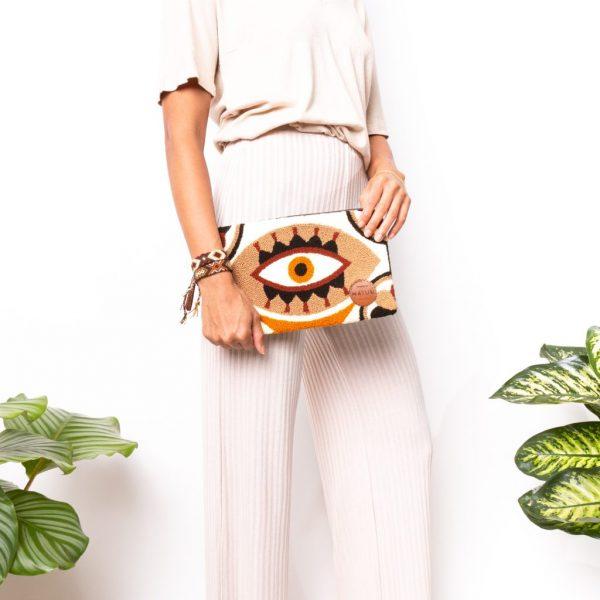 Pochette Wayuu Oeil marron